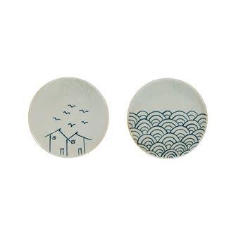 Round Handpainted Stoneware Plate