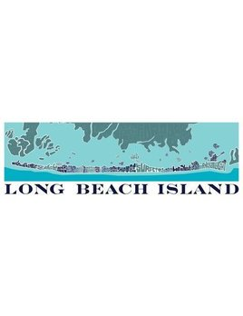 I Lost My Dog LBI Type Map Blue White 12x36
