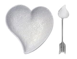 Heart Ceramic Dish and Arrow Spoon