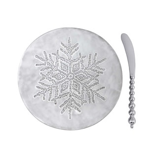 Dotty Snowflake Ceramic Canape Plate with Beaded Spreader