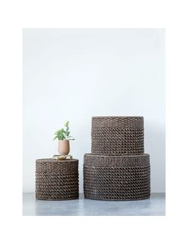 Natural Woven Water Hyacinth Ottomans/Tables Large