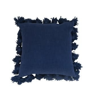 """18"""" Square Cotton Pillow w/ Tassels Navy"""