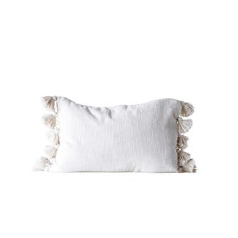 Cotton Woven Slub Pillow with Tassels Cream 24x16