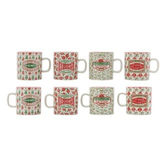 Stoneware Mug with Holiday Stamp and Red Rim, 4 Styles