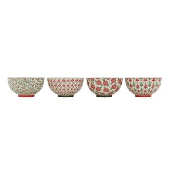 """6"""" Round Stoneware Bowl with Pattern, 4 Styles"""