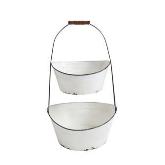 Decorative Metal 2-Tier Bucket