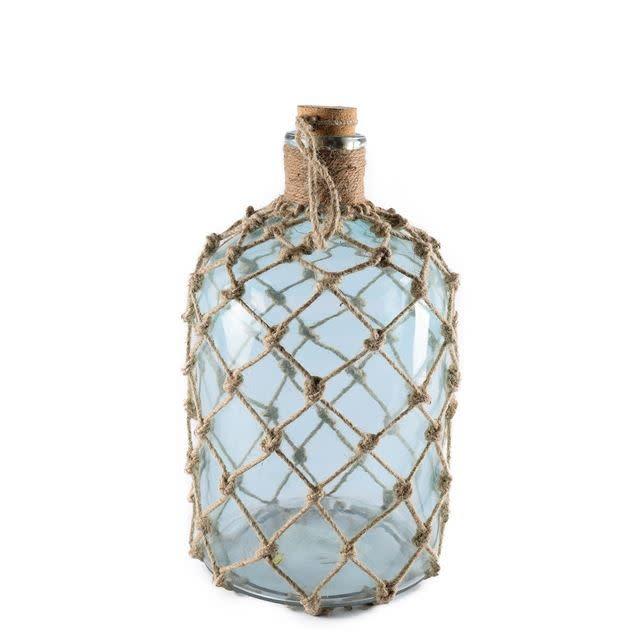 Ariel II Medium Aqua Glass Woven Jute Wrapped Glass Bottle