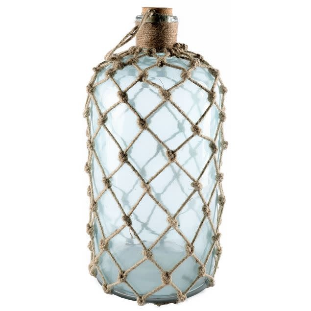 Ariel I Large Aqua Glass Woven Jute Wrapped Glass Bottle