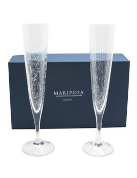 Set of 2 Bellini Champagne Flute Glasses Gift Box