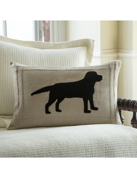 Black Lab on Natural Linen Pillow 16x24