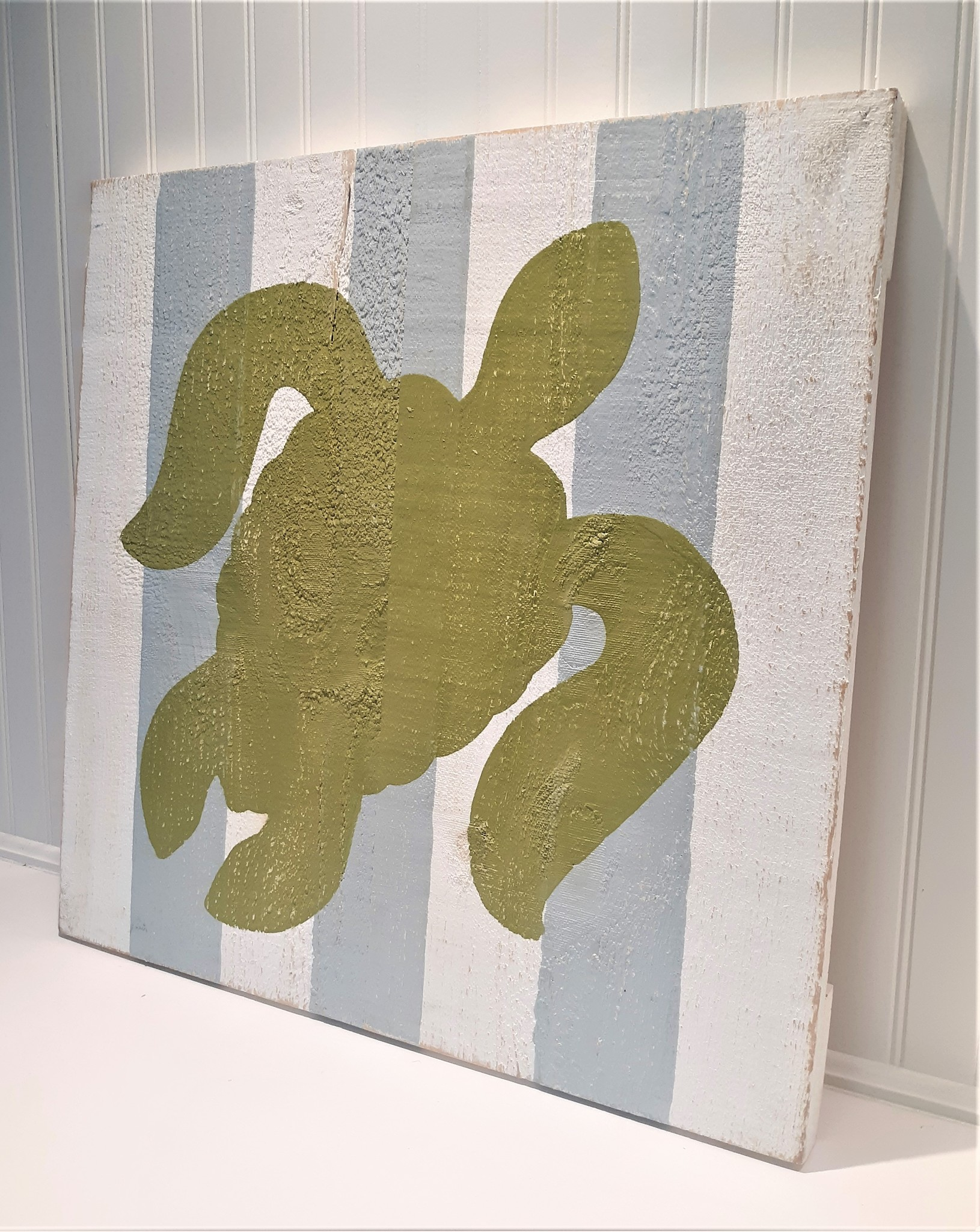 24x24 Turtle Luau Green with Yarmouth Blue and White Stripes