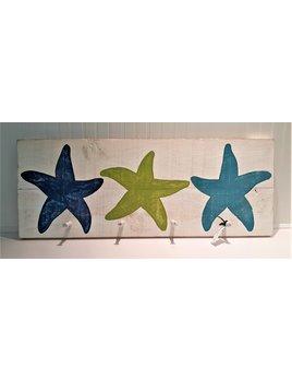 40x16 Batik Sassy Green Turquoise Three Starfish with Pegs