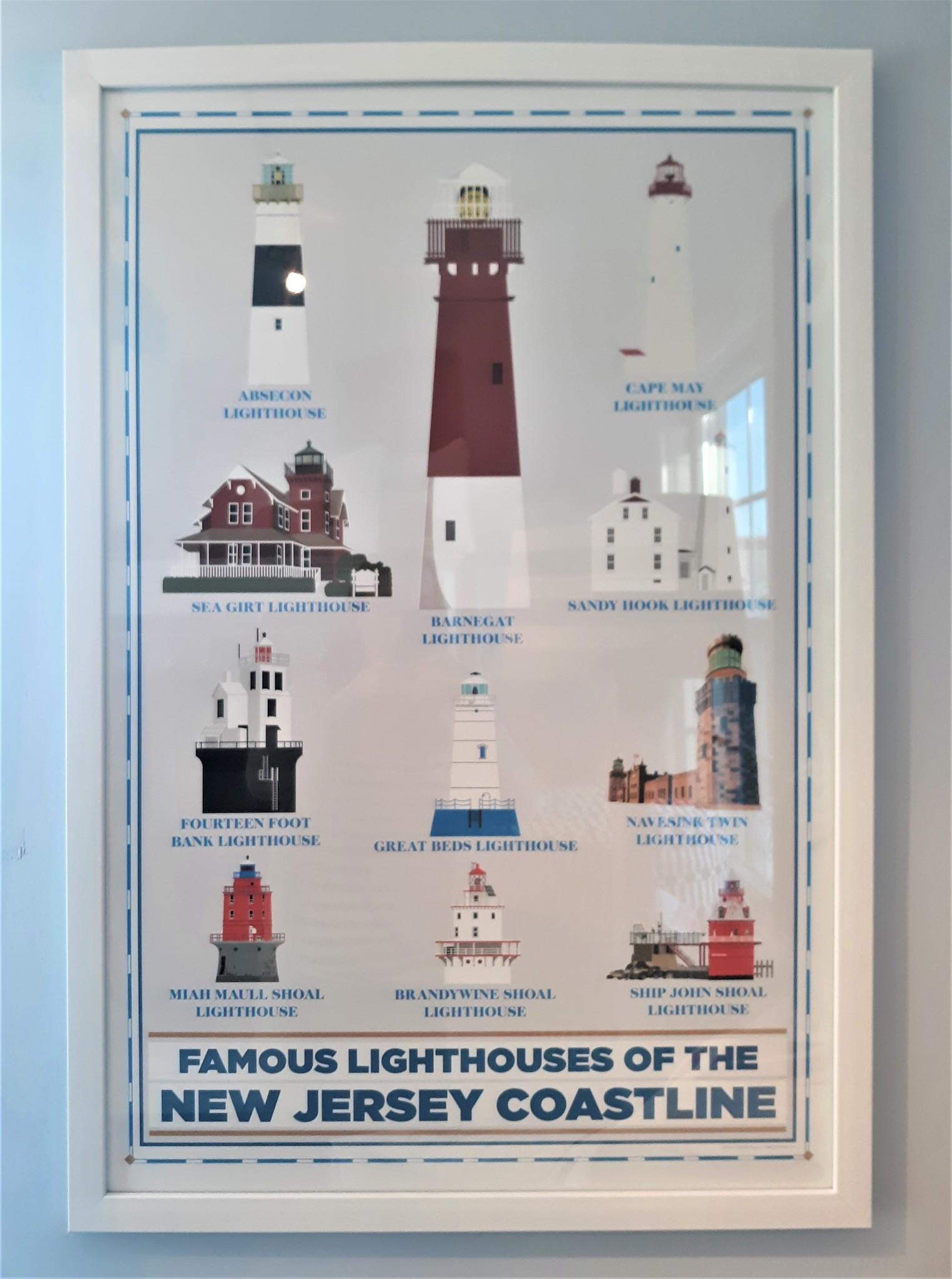 NJ Lighthouse Chart 26 x36 White Frame