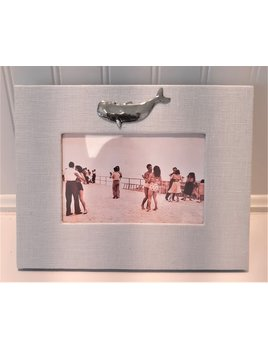 Horizontal Blue Baby Linen Frame Pewter Whale 4x6
