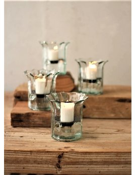 Ribbed Glass Candle Cylinder Mini Votive