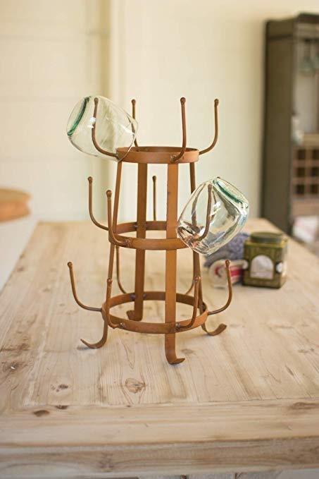 Rustic Iron Glass Drying Rack