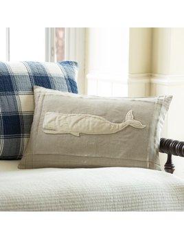 Whale Natural Linen Pillow 16x24
