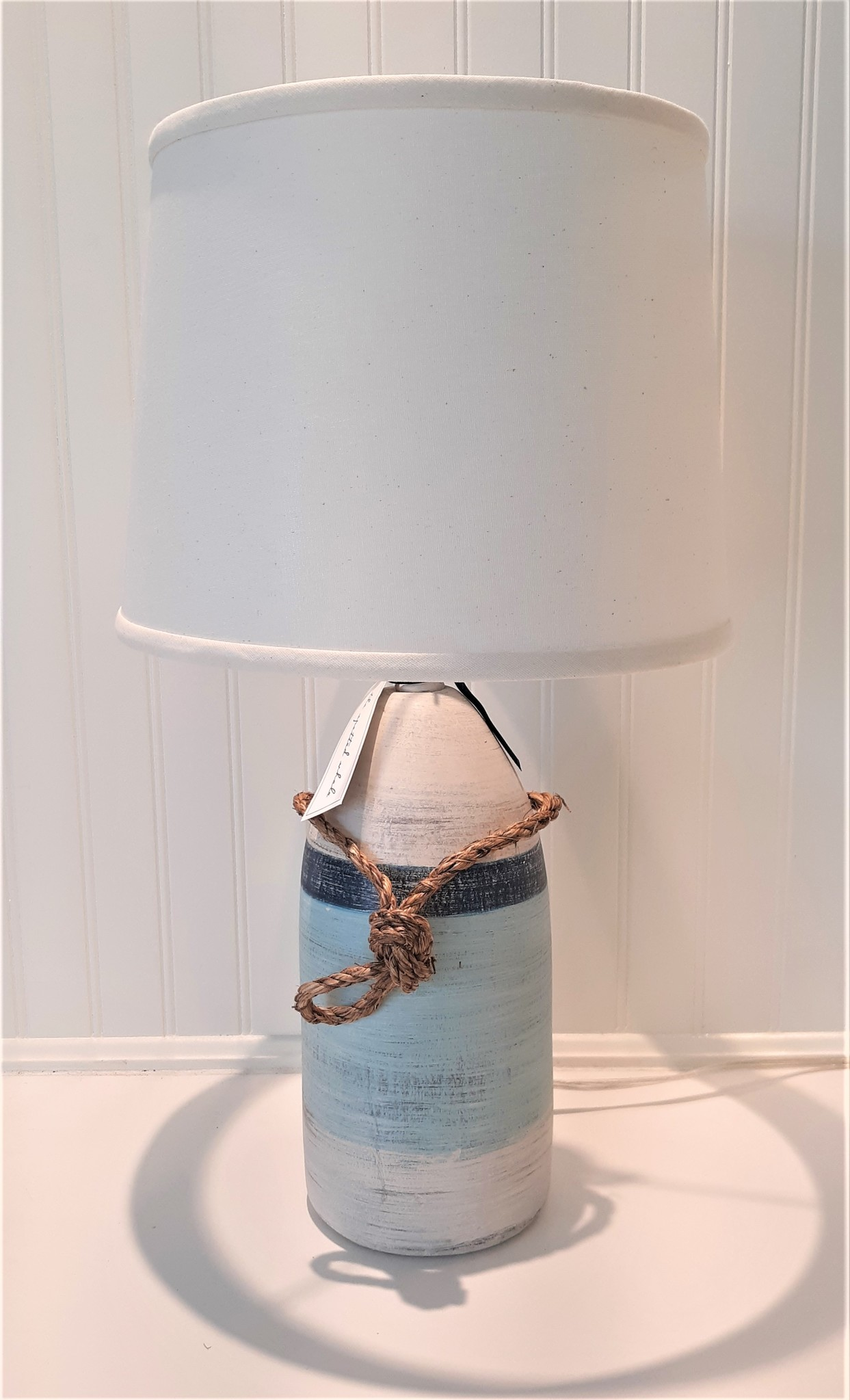 Small Buoy Pot Accent Lamp with Navy Stripe Shade