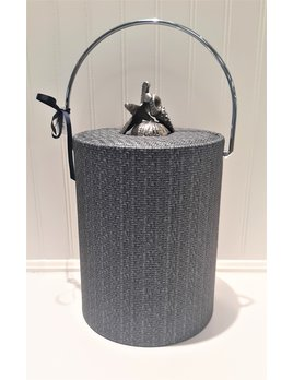 Blue Metallic Wicker 5 qt Silver Handle Chunky Shell Knob