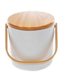 Gray 3Qt Ice Bucket Wooden Top
