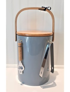 Gray Beachwood  5QT Ice Bucket Wooden Top with Tools