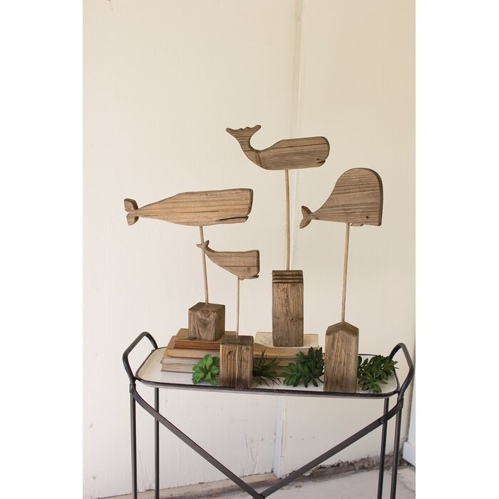 Recycled Wooden Whales on Stand 1 of 4