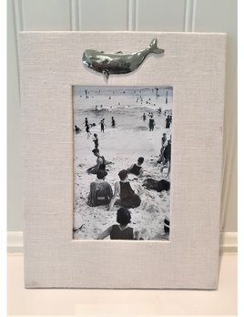Vertical Pink Baby Linen Frame Pewter Whale 4x6