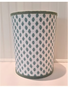 Wastebasket White Aqua Flax Dot