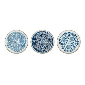 """10"""" Round Hand-Stamped Stoneware Plates"""