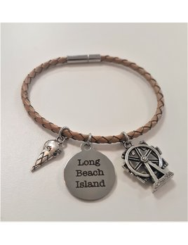 Long Beach Island Round Bracelet with 2 Charms  Natural with Ferris Wheel and Ice Cream Cone
