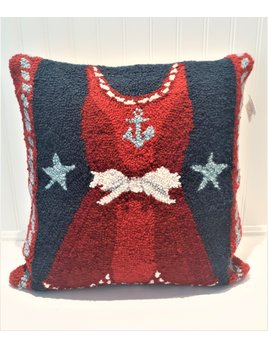 Red Dress Hooked Pillow 18x18