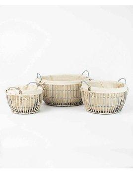 Round Grey Willow Baskets with Cotton Lining Medium