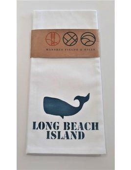 Tea Towel Whale Image with Long Beach Island