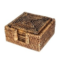 6 Piece Square Coasters in Box Brown