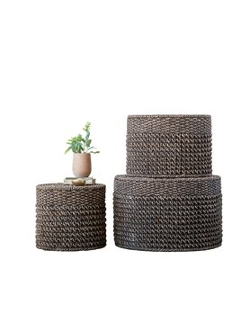 Natural Woven Water Hyacinth Ottomans/Tables Medium