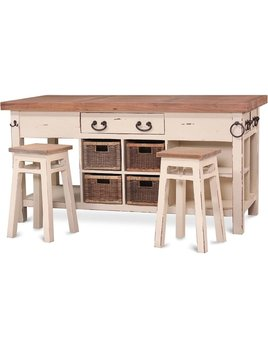 Umbria Kitchen Island Large with Stools Aries Collection