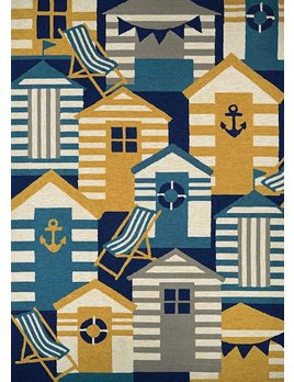 Beach Hut Navy Multi 2x4
