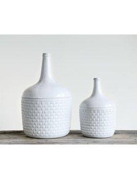 Ceramic Bottle Vase White with Basketweave