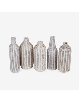 Sabrina Wicker Wrapped Glass Bottles Aged White