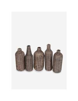 jeffan Sabrina Wicker Wrapped Glass Bottles Grey Wash