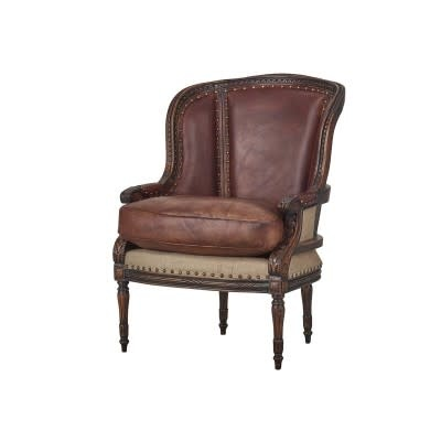 French Wing Chair with Leather