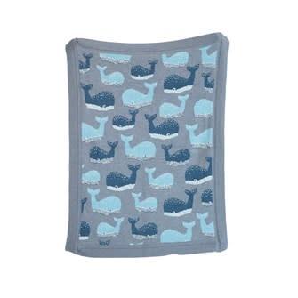 Cotton Knit Blanket w/ Whale, Grey 32x40