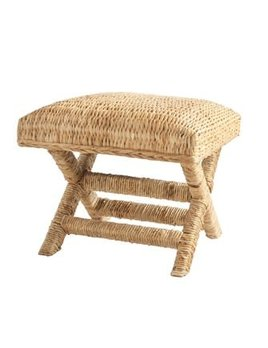 """20"""" Square x 18""""H Woven Water Hyacinth & Wood Stool"""