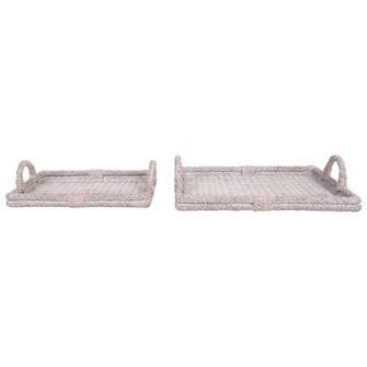 Decorative Rattan Trays w/ Handles, Whitewash Large