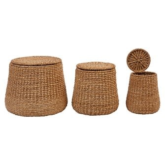Woven Water Hyacinth & Rattan Baskets w/ Lids Large