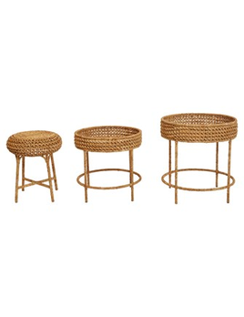 "20"" Round x 20""H  Woven Water Hyacinth & Rattan Table"