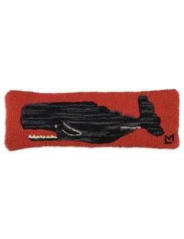 Whale on Red 8x24 Hooked Pillow