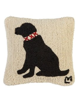 'Duke' Black Lab 14x14 Hooked Pillow
