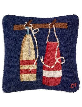Boat Buoys on Blue 18x18 Hooked Pillow