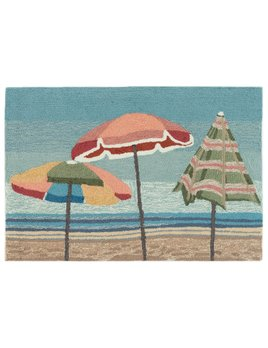 Beach Umbrellas Aqua Rug 24x36